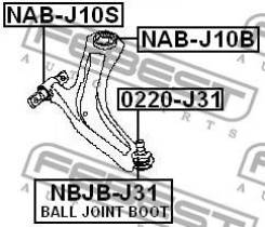 Сайлентблок передний рычага подвески перед прав/лев Febest NABJ10S