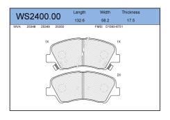 Колодки тормозные дисковые перед Jeenice WS240000