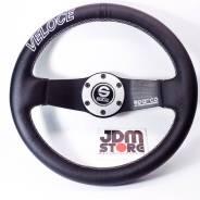 JDMStore | Спортивный руль Sparco veloce, кожаный, серебристо-чёрный
