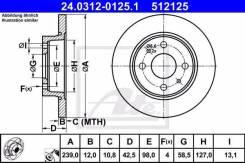 Диск тормозной ВАЗ/ЗАЗ 2108-099/Таврия передн. 239 мм. 4отв. Power Disc 239 мм. ATE 24031201251