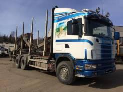 Scania. Сортиментовоз 164 G, 2003 г. в. с ГМП и прицепом, 13 850куб. см., 30 000кг., 6x4