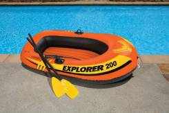 Надувная лодка пвх новая с вёслами и насосом Intex
