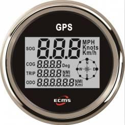 Спидометр ECMS цифровой с одометром (нерж/черн) GPS-