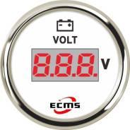 Вольтметр ECMS цифровой, 8-32 Вольт (нерж/бел)