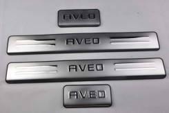Накладки на пороги Chevrolet Aveo 2006-2012 хэтчбек