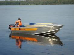 Алюминиевая лодка Wellboat-42 румпельное управление