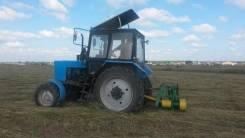 Покос травы, борщевика трактором