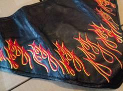 Бандана для лица Zan Headgear из кожи утепленная с пламенем