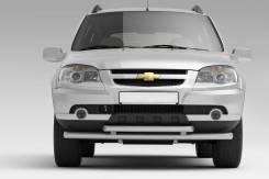 Защита переднего бампера Chevrolet Niva 2009 двойная (Полимер)