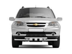 Защита переднего бампера двойная, с зубьями Chevrolet Niva 2009