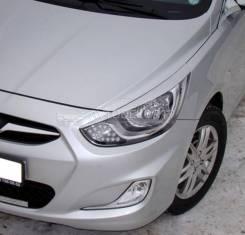 Реснички накладки на фары Hyundai Solaris (Хендай Солярис) 2010-2014г