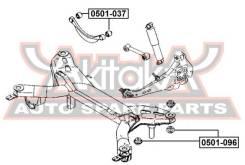 Сайлентблок поперечного рычага задней подвески (кривого) Mazda6   Atenza Akitaka, левый/правый