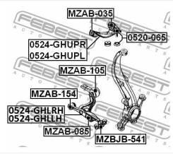 Сайлентблок переднего рычага (задний) картридж Mazda6   Atenza FEBEST