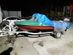 Продам лодку Обь-м с мотором ямаха 40 и заводским прицепом