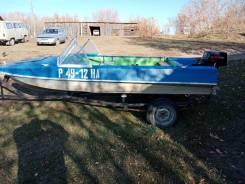 Лодка Обь М, с мотором Зонтшент 15 с рулевым управлением