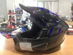 Шлем (кроссовый) Ataki MX801 Strike (синий/черный глянцевый) L