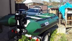 """Надувная лодка ПВХ """"SVAT"""" ZYA380, зеленая, пол деревянный."""