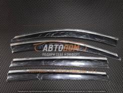Ветровики (дефлекторы окон) Toyota Rav-4 2013+ (молдинг из нержавейки)
