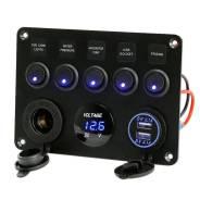 12V/24V 5 кнопочная, USB панель для водного транспорта