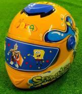 Детский мотошлем закрытый, желтый (Губка Боб)