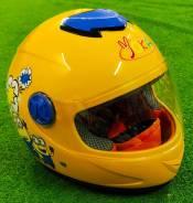 Детский мотошлем закрытый, желтый (Миньены)