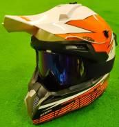 Мотошлем кросс/эндуро, оранжево-белый, размер M