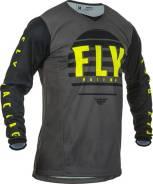 Джерси FLY RACING KINETIC K220 размер:S чёрная/серая/Hi-Vis жёлтая (2020)