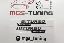 Шильдики Biturbo AMG на крылья хром Mercedes-Benz