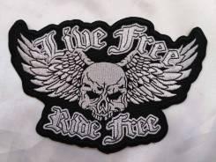 "Байкерская нашивка ""Live free, rede free"", клеевая основа, США"
