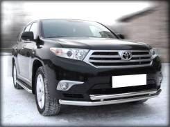 Защита переднего бампера Toyota Highlander 2010-2013 d-60+53 двойная