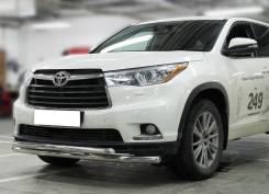 Защита переднего бампера Toyota Highlander 2014-2016 двойная d-60+53