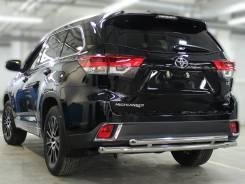 Защита заднего бампера Toyota Highlander 2014-2020 двойная d-60+53