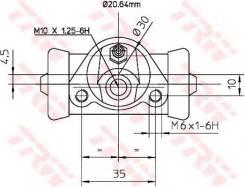 Цилиндр тормозной ВАЗ 2110-2112 рабочий TRW BWF150
