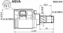 Шрус внутренний NSIU-N16 ASVA Nissan Almera N16 QG15DE AT/MT EURO