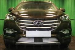 Защита радиатора для Hyundai Santa Fe (2015-2018) рестайл | Премиум | хром | низ | с датчиком ACC | [HSFACC15.PREMIUM.chrome]