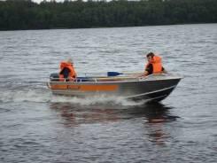 Алюминиевая лодка Wellboat-46 румпельное управление