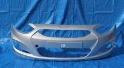 Бампер Hyundai Solaris 2010 - 2014 г. в. Серебристый RHM в цвет кузова