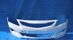 Бампер Hyundai Solaris 2014 - 2017 г. в. Белый PGU в цвет кузова