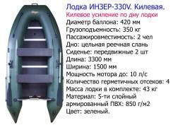 Двухместная килевая лодка под мотор. Инзер -2(330 ) V