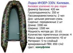 Двухместная килевая лодка под мотор Инзер -2(330 ) V ЦС+киль (Россия)