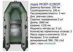 Двухместная надувная моторная лодка. Инзер -2(280 ) М (Россия) серо-зе