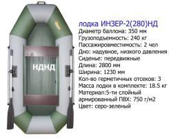 Двухместная надувная гребная лодка. Инзер -2(280 )(Россия) серо-зелена