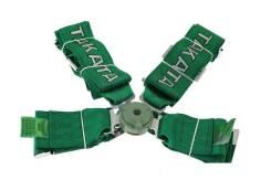 Ремни спортивные Takata 4-х точечные 76 мм. Цвет зеленый