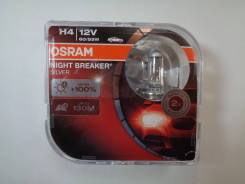 Лампа H4 12-60+55 P43t +100% Night Breaker Silver Eurobox, 2шт Osram