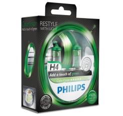 Лампа H4 12-60+55 P43t Color Vision зеленый Philips