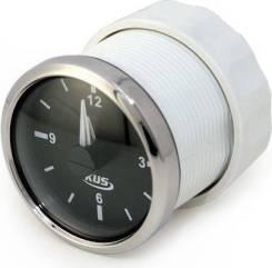 Часы кварцевые, аналоговый черный циферблат, нержавеющий ободок