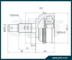 ШРУС внешний JETT V41-3029 с кольцом ABS