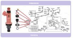 Комплект колечек топливной форсунки на 8 штук Toyota 1UZFE/3UZFE