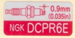 Наклейка используемых свечей DCPR6E Tohatsu 3H6-72026-0