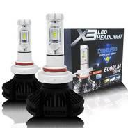 Лампы светодиодные X3 H8/H9/H11/H16 6000K. Диод. Комплект